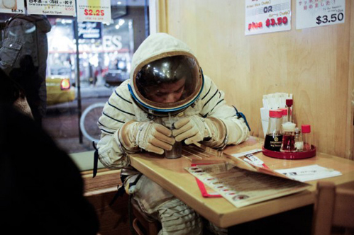 astronaut, boy, cafe, lost, photo