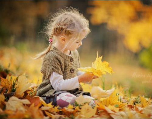 autumn, childhood, girl, jacket, leaves, lonely, orange, play, sad