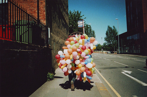 avenue, balloons, boy, city, color