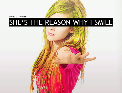 avril, avril lavigne, background, blonde, gray, green, hair, hairstyle, lavigne, locks, pink, reason, shirt, smile, tee, text, weheartit