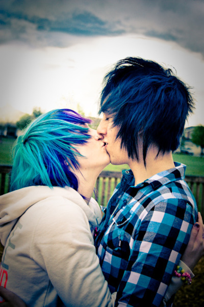 awwwww, beautiful, black, blue hair, couple