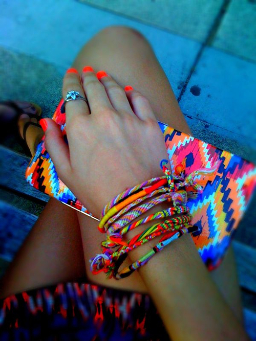 aztec, beach, beautiful, belt, blue, bohemian, boho, bracelets, bright, colorful, cool, dreams, fashion, fashion trash, fluor, friendship bracelets, girl, hand, hippie, nail polish, nails, neon, pattern, please credit photo, summer, trashion, tribal