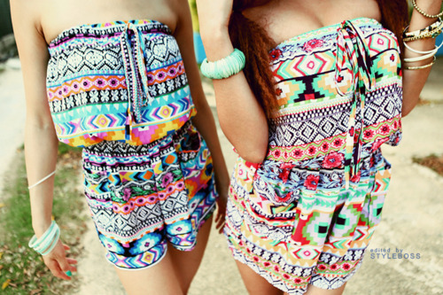 aztec, bohemian, boho, colors, fashion, girls, jump suits