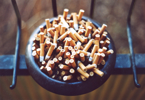 bad, bowl, burnt, cigarettes, dozens, lol, many, metal, orange, smoke, smoker, smoking, unhealthy, woah