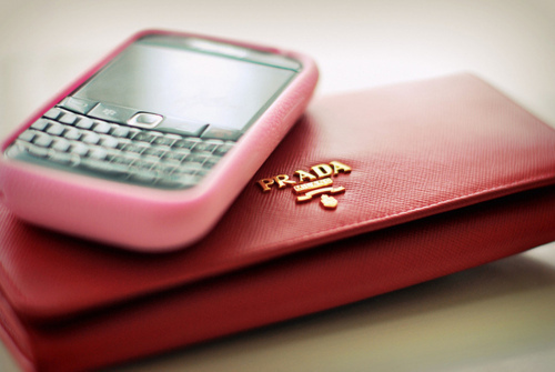 bag, black, blackberry, clutch, fashion, girl, girly, gold, luxury, mobile, phone, pink, prada, purse, red