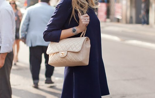 bag, blonde, chanel, chic, coat, fashion, girl, outfit, purse, street, street chic, style, watch