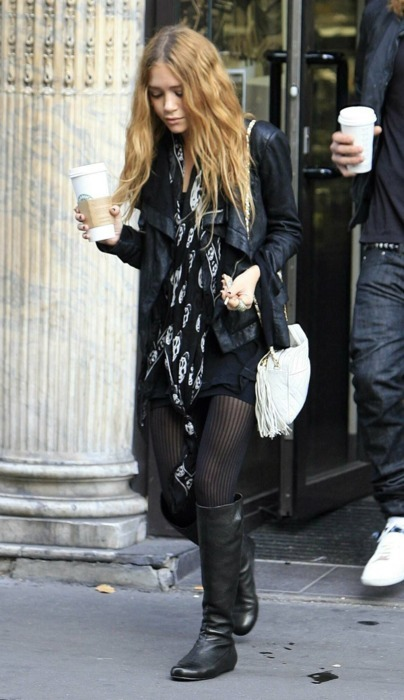 bag, blondie, boots, closet, clothes, famous, fashion, hair, leather, leather jacket, legs, mary-kate olsen, olsen, scarf, shoes, skinny, style, tights