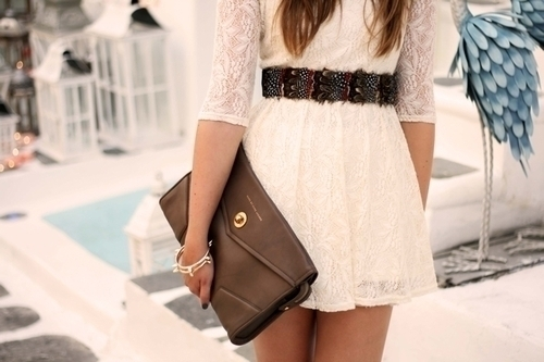 bag, dress, fashion, lace, outfit
