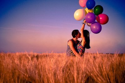 balloon, couple, field, kiss, love