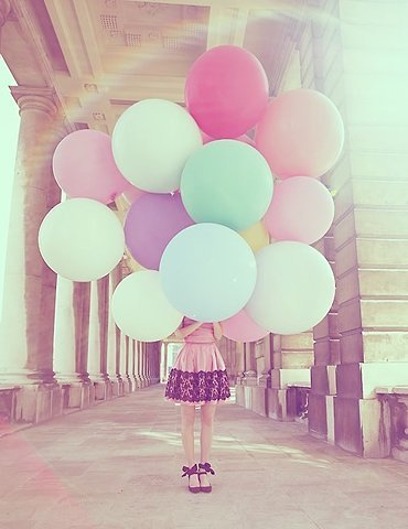 balloons, big, colorful, cute, vintage