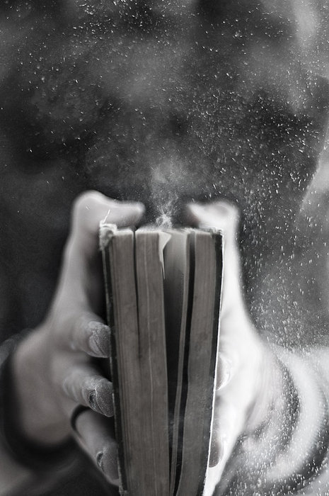 b&w, black and white, book, dust, old
