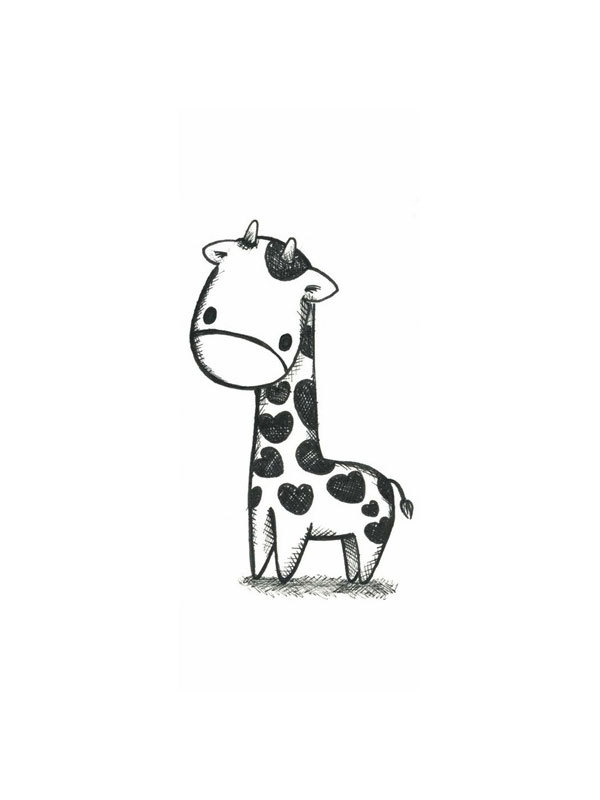 b w black and white drawing giraffe illustration