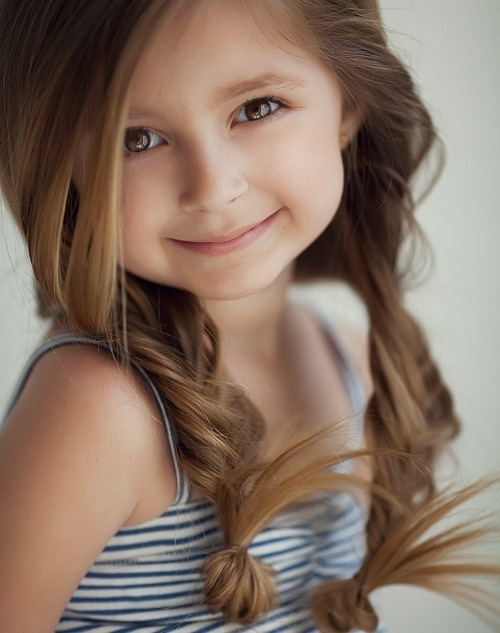 Band beauty child cute girl pigtails smile view youth