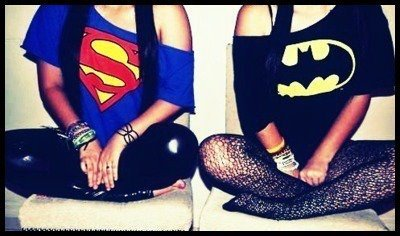 batman, girl, superman
