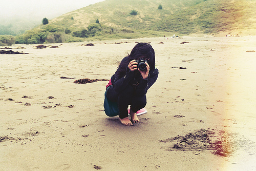 beach, beautiful, brunette, camera, cold