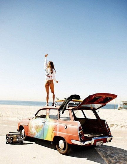 beach, beautifull, beauty, car, colors, enjoy, fun, girl, life, music, nature, retro, sand, sea, summer, sunny, vintage