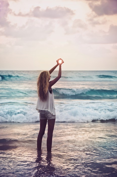 beach, blonde, blue, bracelet, clouds