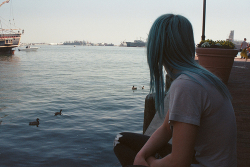 beach, blue hair, cute, duck, dyed hair