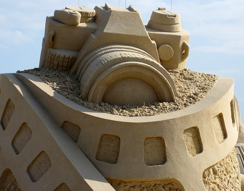 beach, camera, cool, pretty, sand, sand castle, water, wave