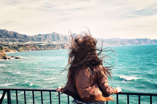 beautiful, beauty, costume, fun, girl, happy, landscape, nature, nice, pretty, sea, style, water, wind