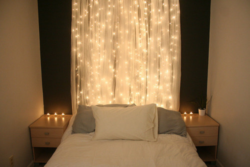 beautiful bed bed room bedroom candles christmas lights color