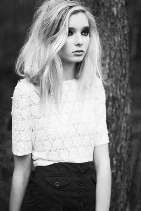 beautiful, black and white, blonde, blouse, clothes