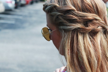 beautiful, blonde, braids, fashion, girl, hair, plait, plaits, sunglasses, tan