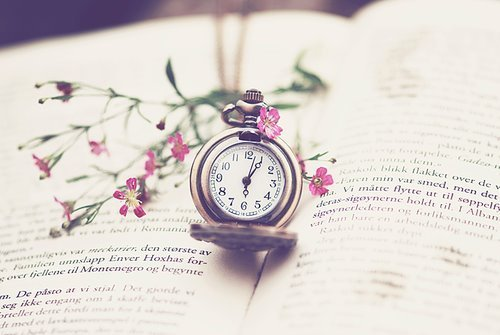 beautiful, book, clock, flower, love, old fashion, old fashioned, photography, pretty, vintage