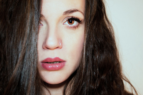 beautiful, brunette, eyelashes, eyes, girl, hair, hazel eyes, light, lip gloss, lips, makeup, mascara, model, nose ring, nosering, photography, pretty