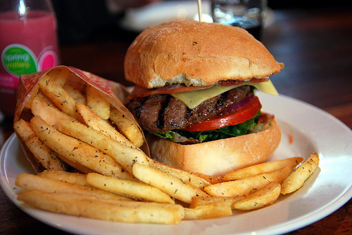 beautiful, burger, food, french fries, fries