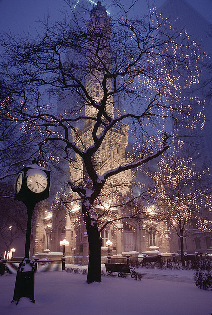 beautiful, christmas, city, clock, lights, night, snow, tree, white, winter