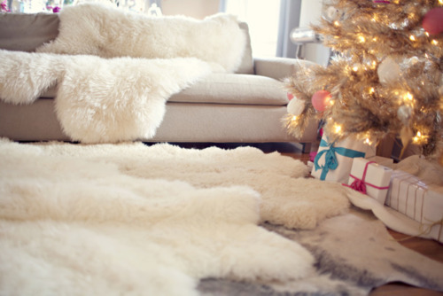 beautiful, christmas, cozy, sheepskin, tree, white