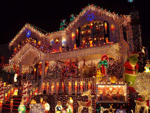 beautiful, christmas, house, lights, places