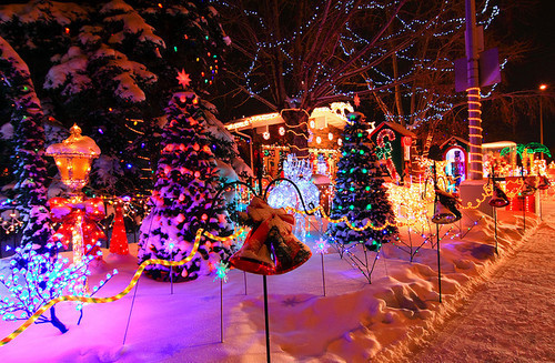 beautiful, christmas, lights, night, snow, tree, winter