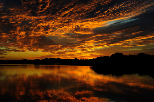 beautiful, cloud, clouds, dark, lake, landscape, night, photography, sky, view, water, yellow