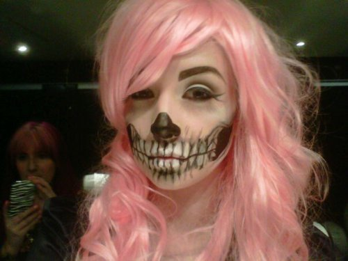 beautiful, couple, fashion, girl, love, mascara, mask, model, pink, pink hair, skeleton, skull, style