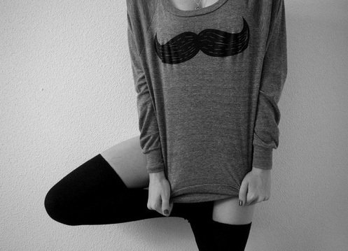 beautiful, cozy, fwhi, girl, knee socks, mustache, socks, sweater