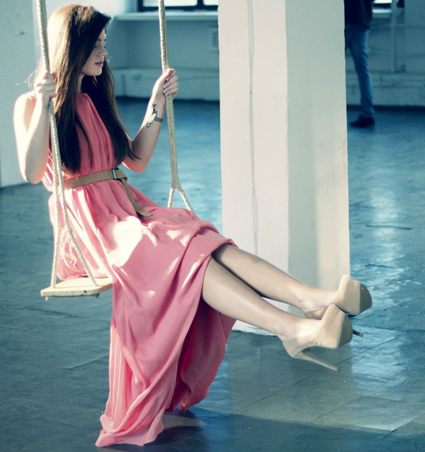 beautiful, dress, girl, honey, legs, long hair, pink dress, shoes, swing