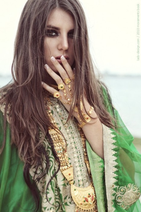beautiful, ethnic, fashion, gold, green, jewels