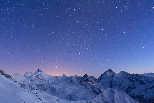 beautiful, mountains, nature, night, pretty, sky, snow, stars