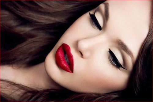 beauty, eyeliner, makeup, red lips