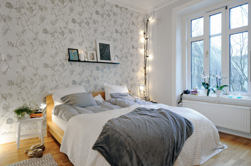 bed, bedroom, cabin, comfort, comforter, cozy, flowers, home, house, interior, pillow, room, white, window