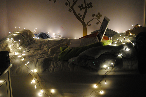 bedroom, comfy, cute, laptop, lights