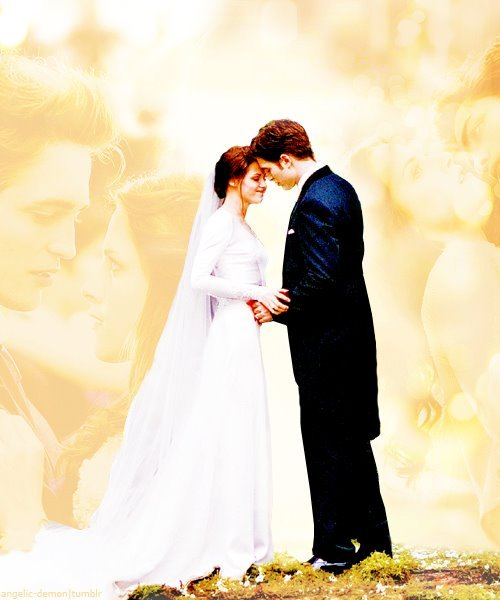 bella swan, breaking dawn, bride, edward cullen, groom, kristen stewart, kstew, robert pattinson, robsten, rpattz, twilight, twilight saga, wedding