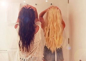 best friends, blonde and brunette, friends, hair, two girls