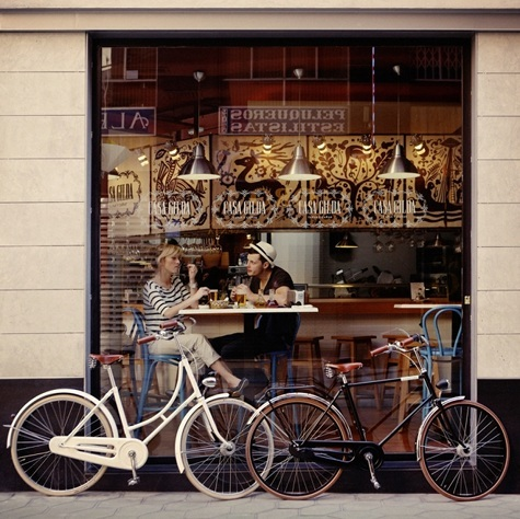 bicycle, boy, couple, girl, love, restaurant, vintage