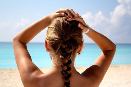 bikini, braids, girl, ocean, summer, surf, wave