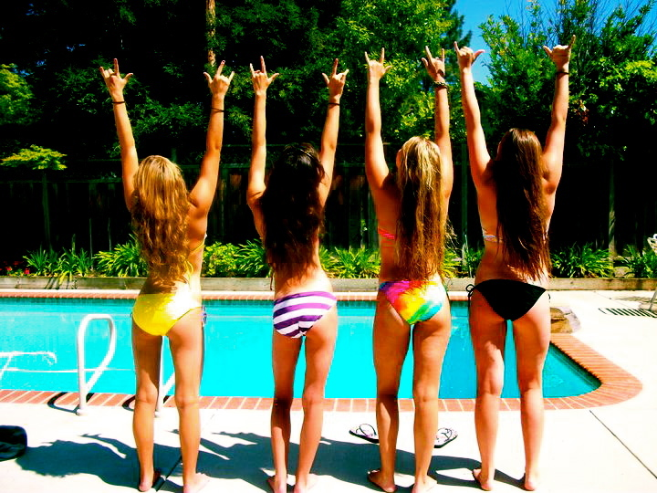 bikini, friends, pool, summer