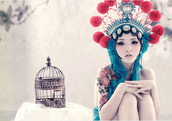 birdcage, blue, cage, fashion, girl, girls, glamour, japan, japanese, makeup, model, photography, red, style, white