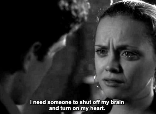 black and white, brain, christina ricci, cry, heart